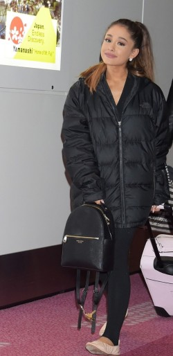 Ariana Grande with Henri Bendel West 57th Bagpack